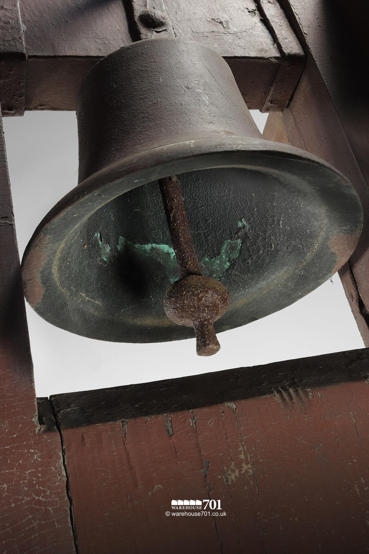 Antique School, Chapel or Factory Bell in Rare Bellframe