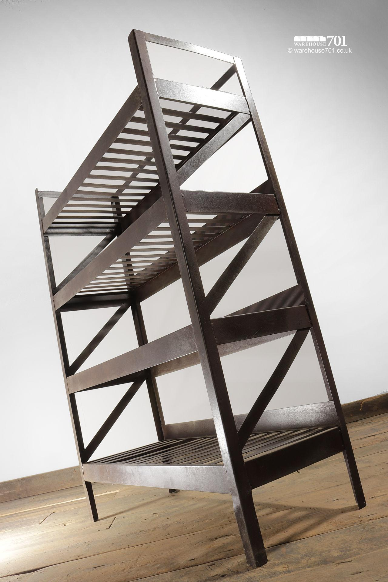 NEW Iron-Colour Metal Four Tier Slatted Shelving or Display Unit