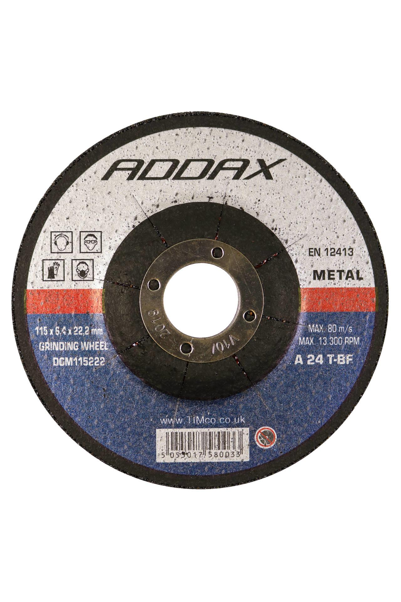 Addax Bonded Abrasive Disc - For Grinding Various Types of Steel (sold in packs of 5)