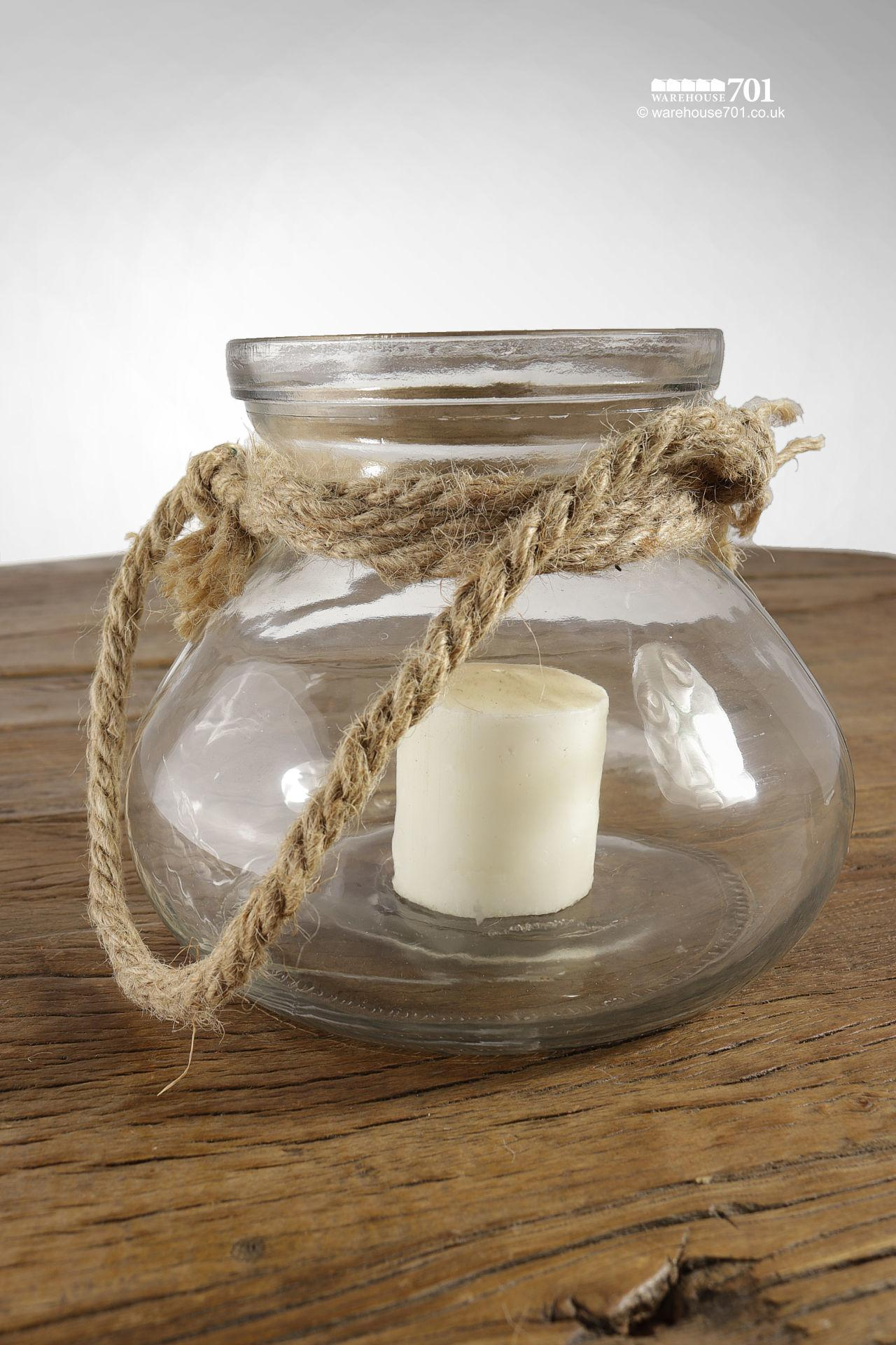 NEW Circular Glass and Rope Hurricane Candle Lantern