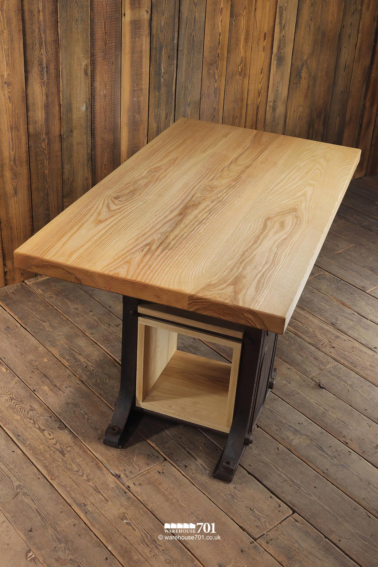 701 Original Industrial Base Highly Figured American Ash Table with Storage #5