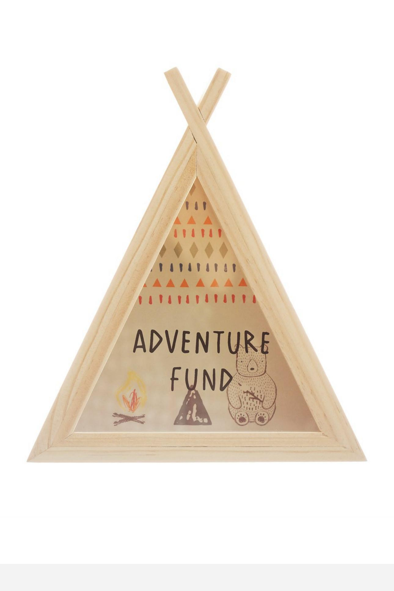 New Wooden Bear Camp Teepee Money Box with Illustrations #2
