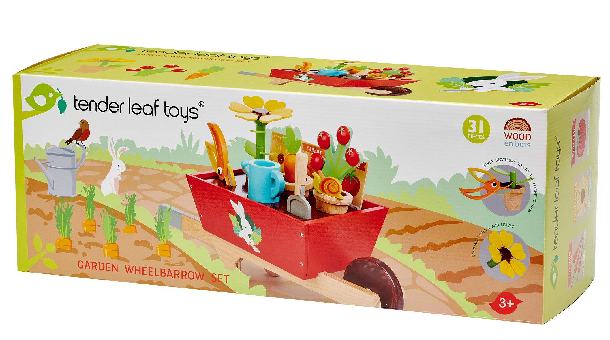New Wooden Toy Wheelbarrow Set with Removeable Plants, Tools and more #3