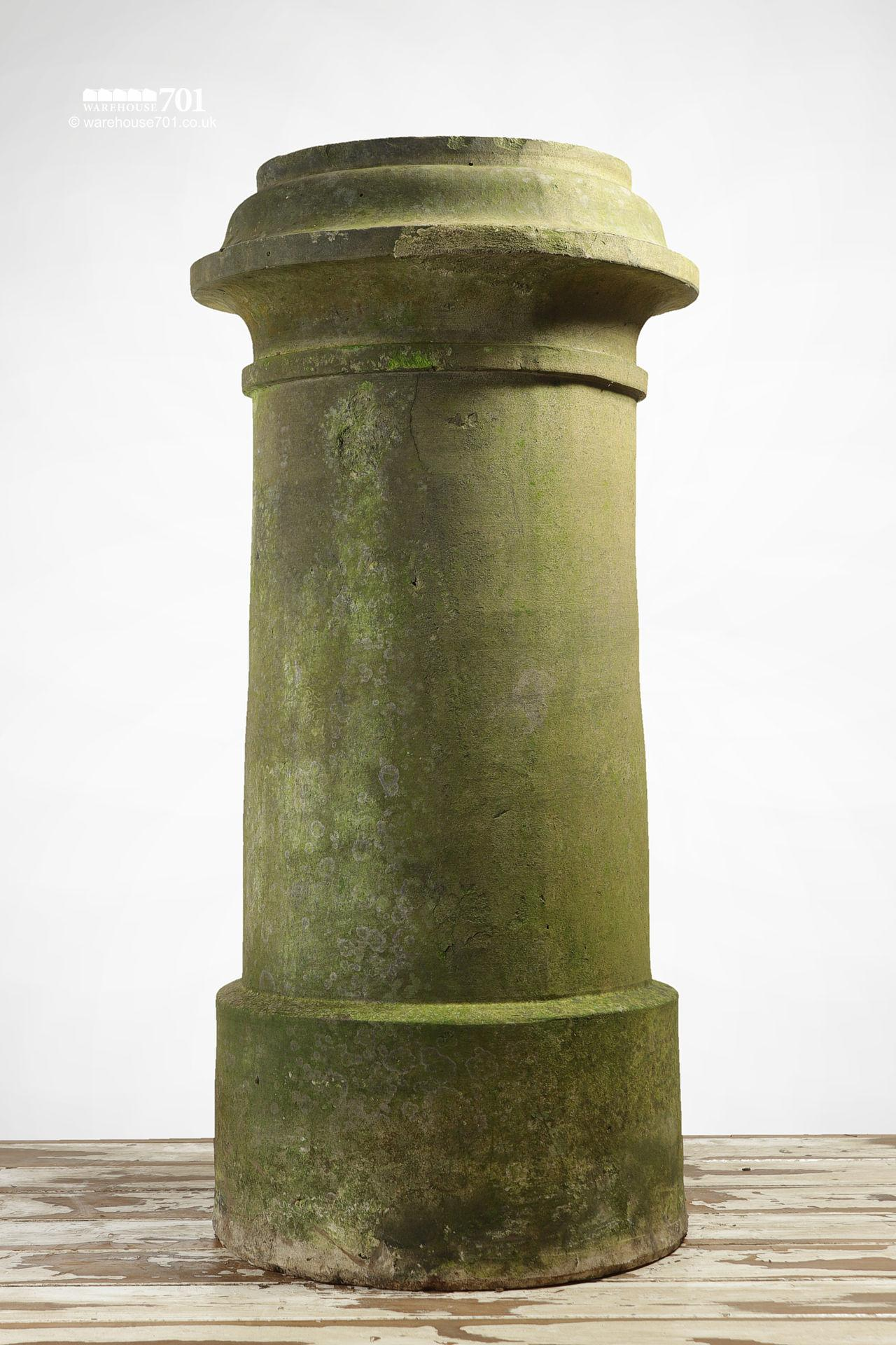 Pair of Reclaimed Tall Cream or Buff Ribbed Cannon Chimney Pots #3