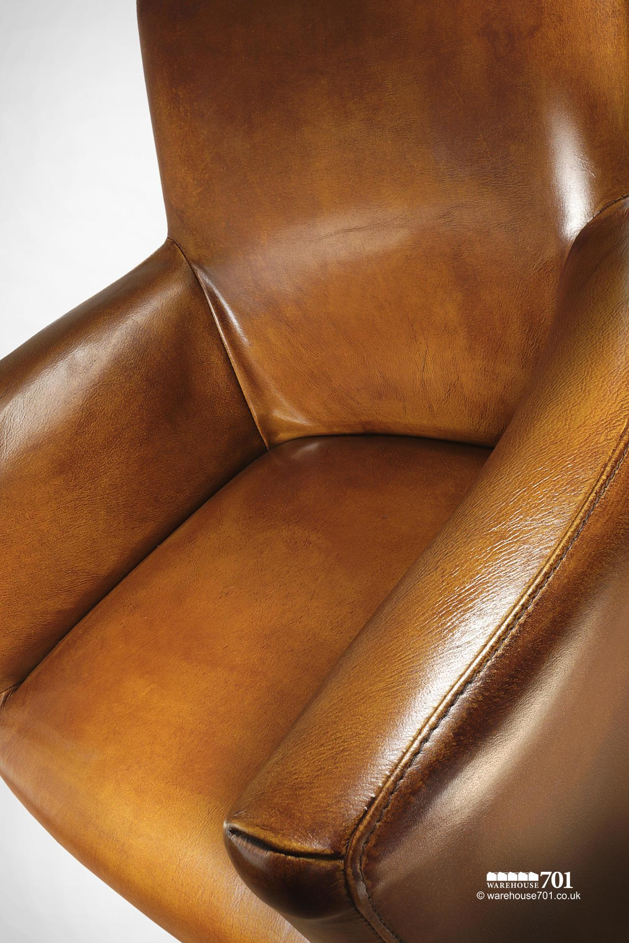 NEW Stylish and Sumptuous Compact Stitched Leather Armchair