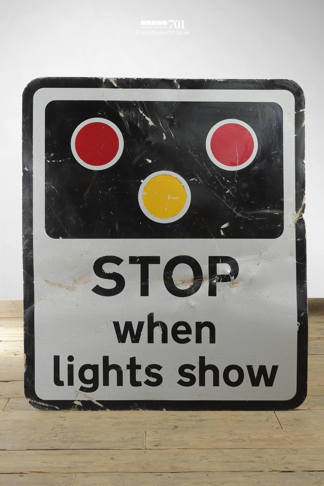 Reclaimed Railway Crossing Warning Sign STOP When Lights Show #3