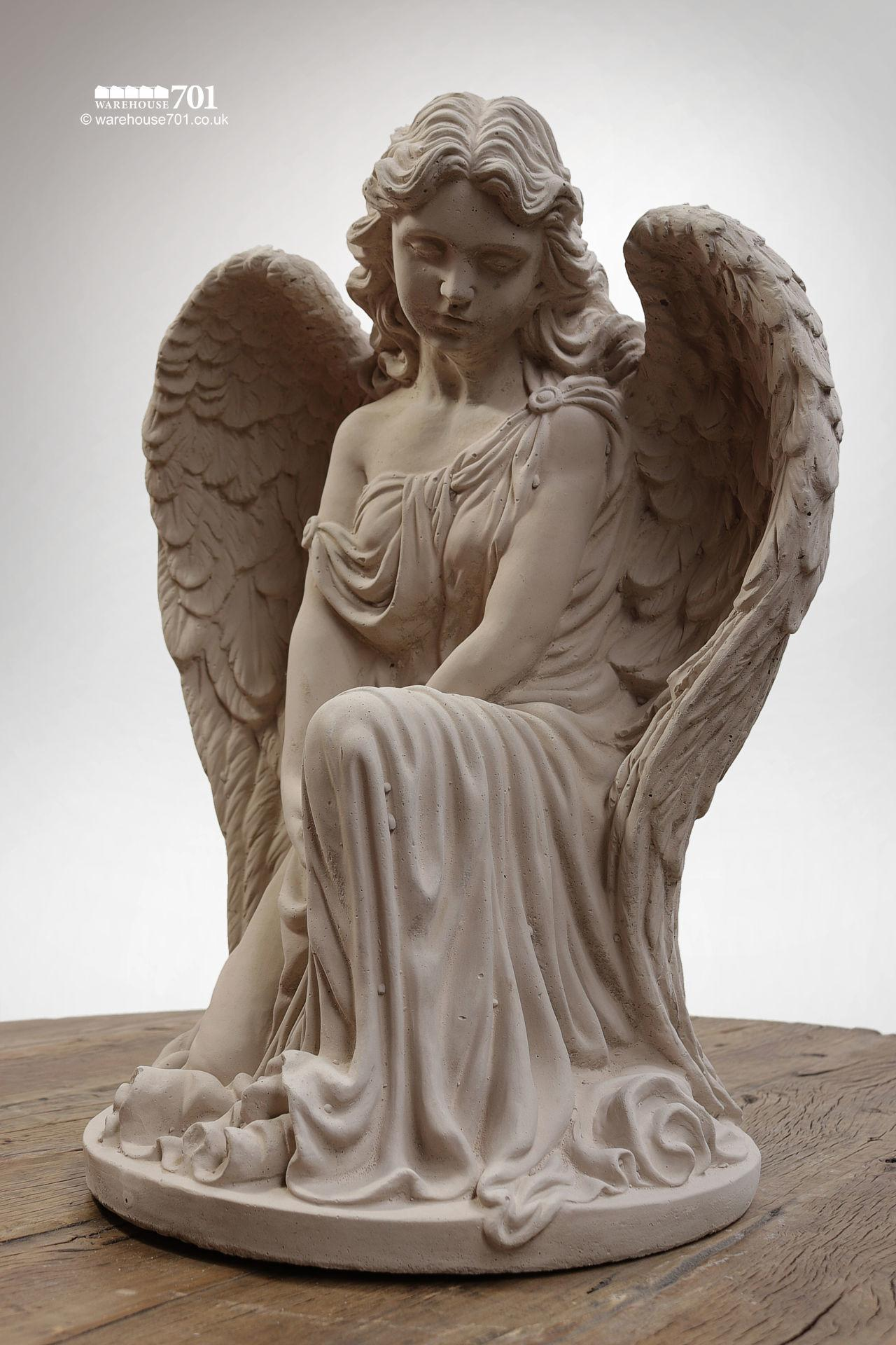 New Cast Stone Kneeling Angel Garden Statue or Figure #6