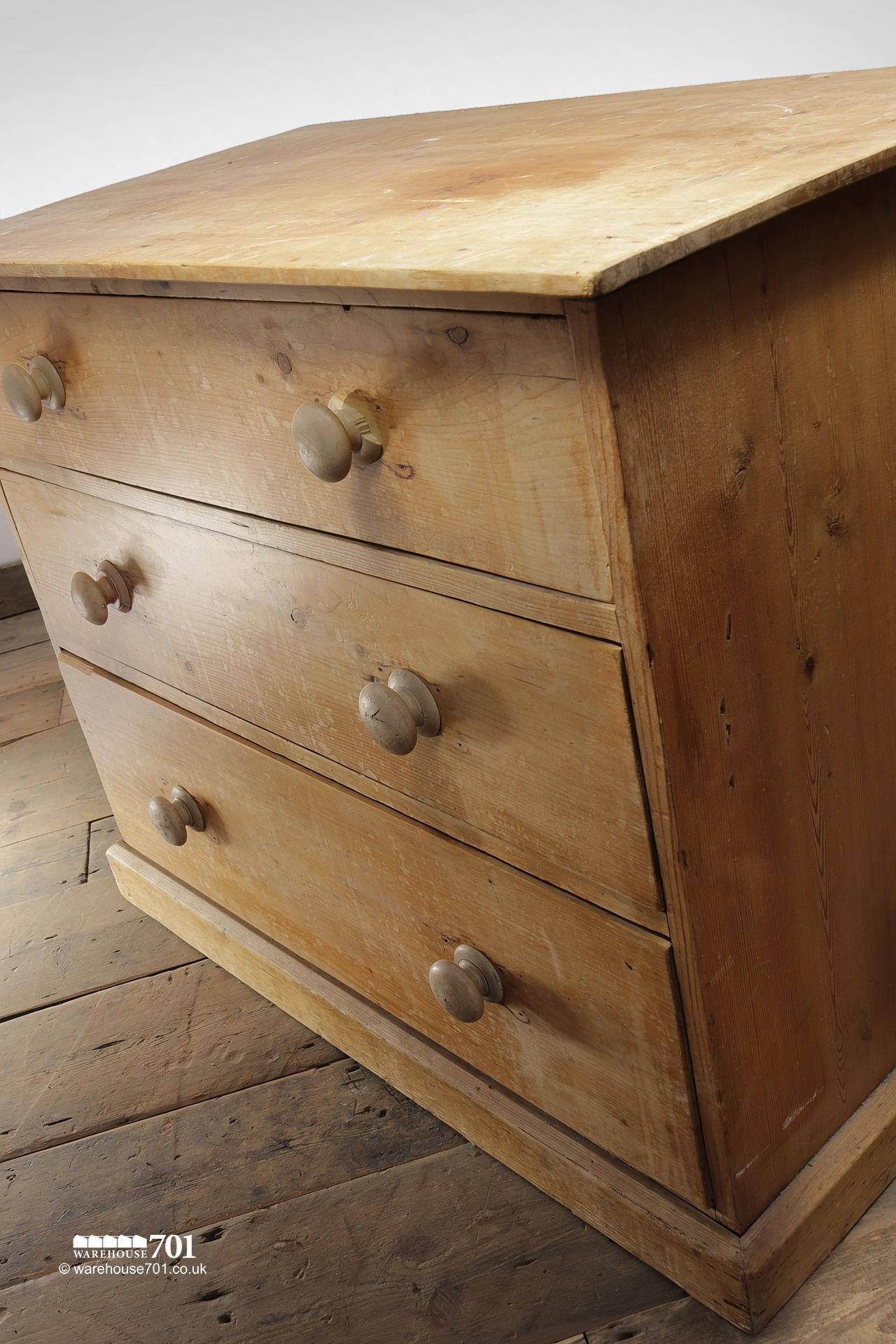 Vintage Three Drawer Stripped Pine Chest of Drawers