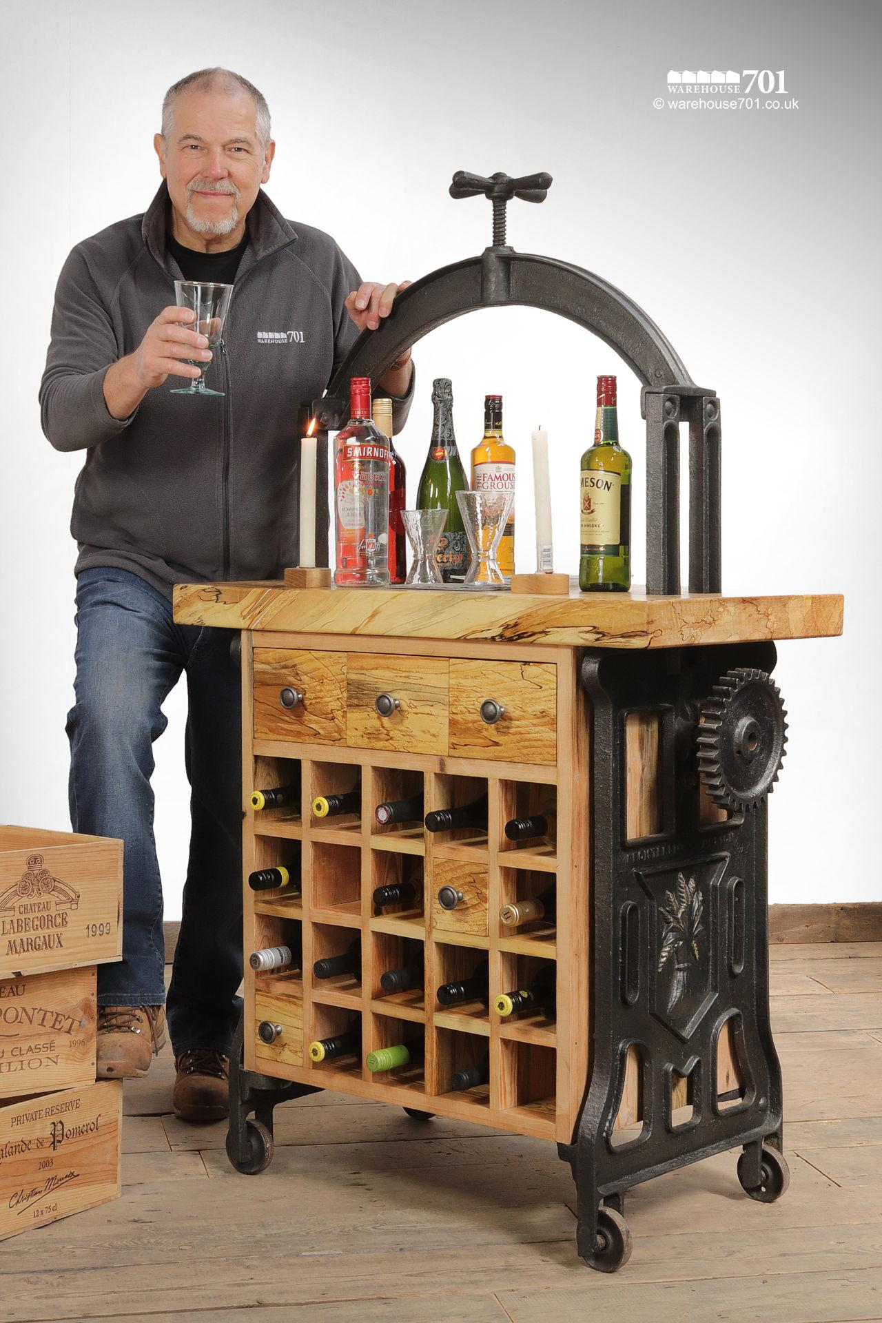 Unique Hand-Crafted Cast Iron and Beech 'Silenus' Wine Station #5