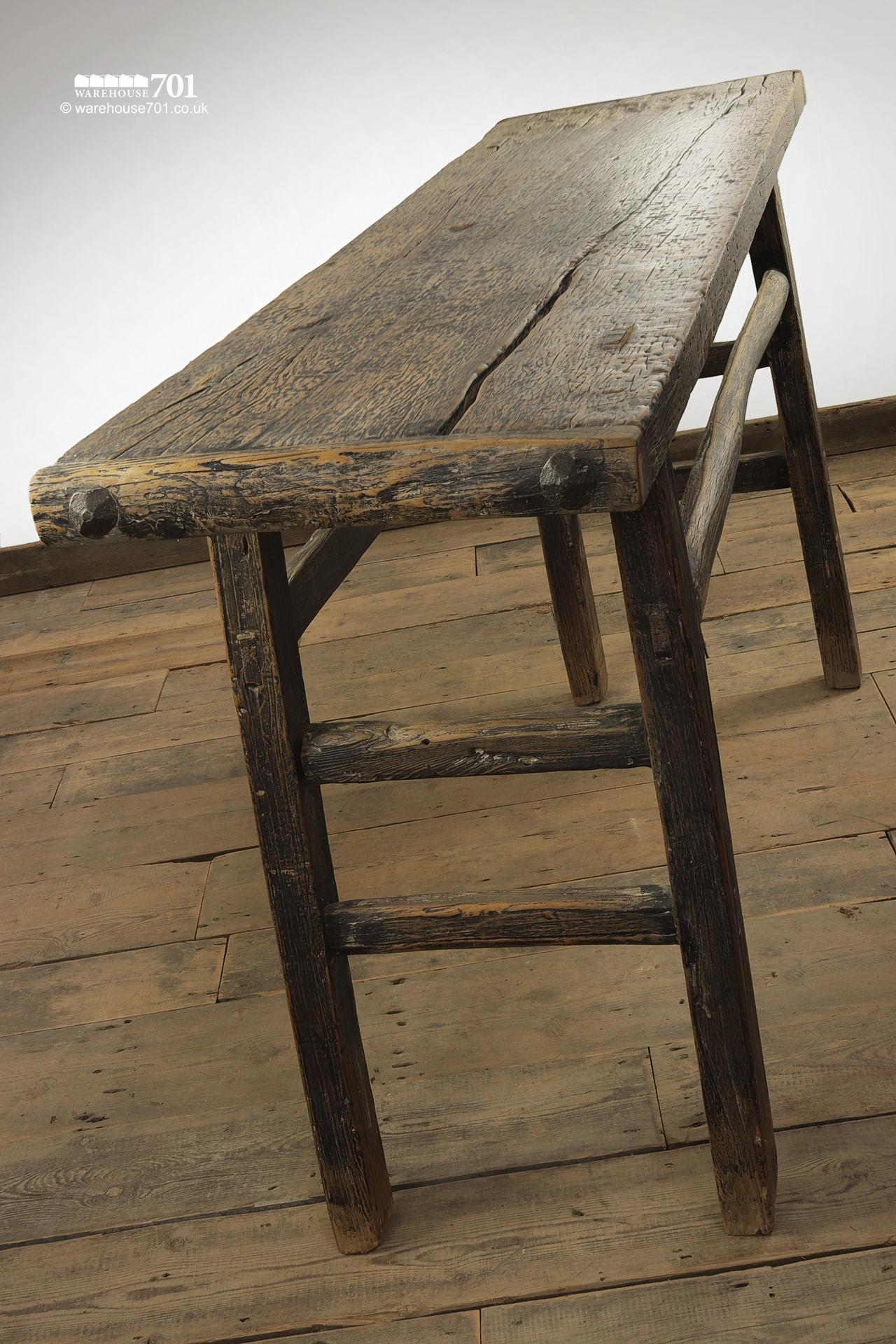 Impressive Reclaimed Elm Dark Wood Console Table #8