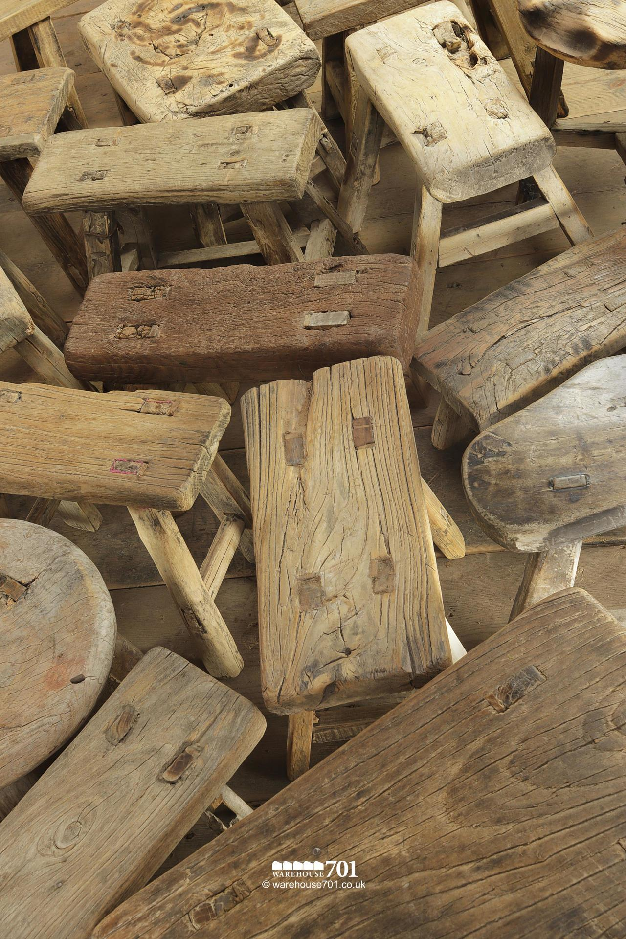 Reclaimed Elm Small Three and Four legged Milking Stools #6