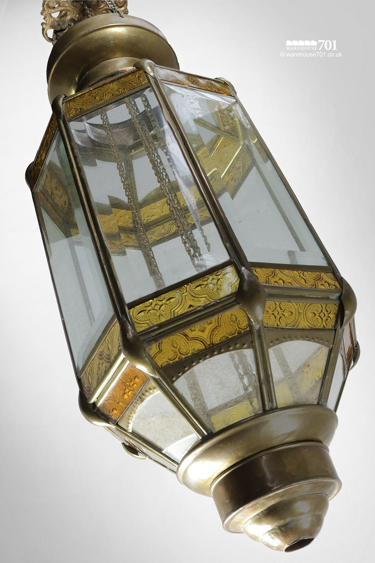 Vintage Octagonal Brass and Glass Candle Lantern #2