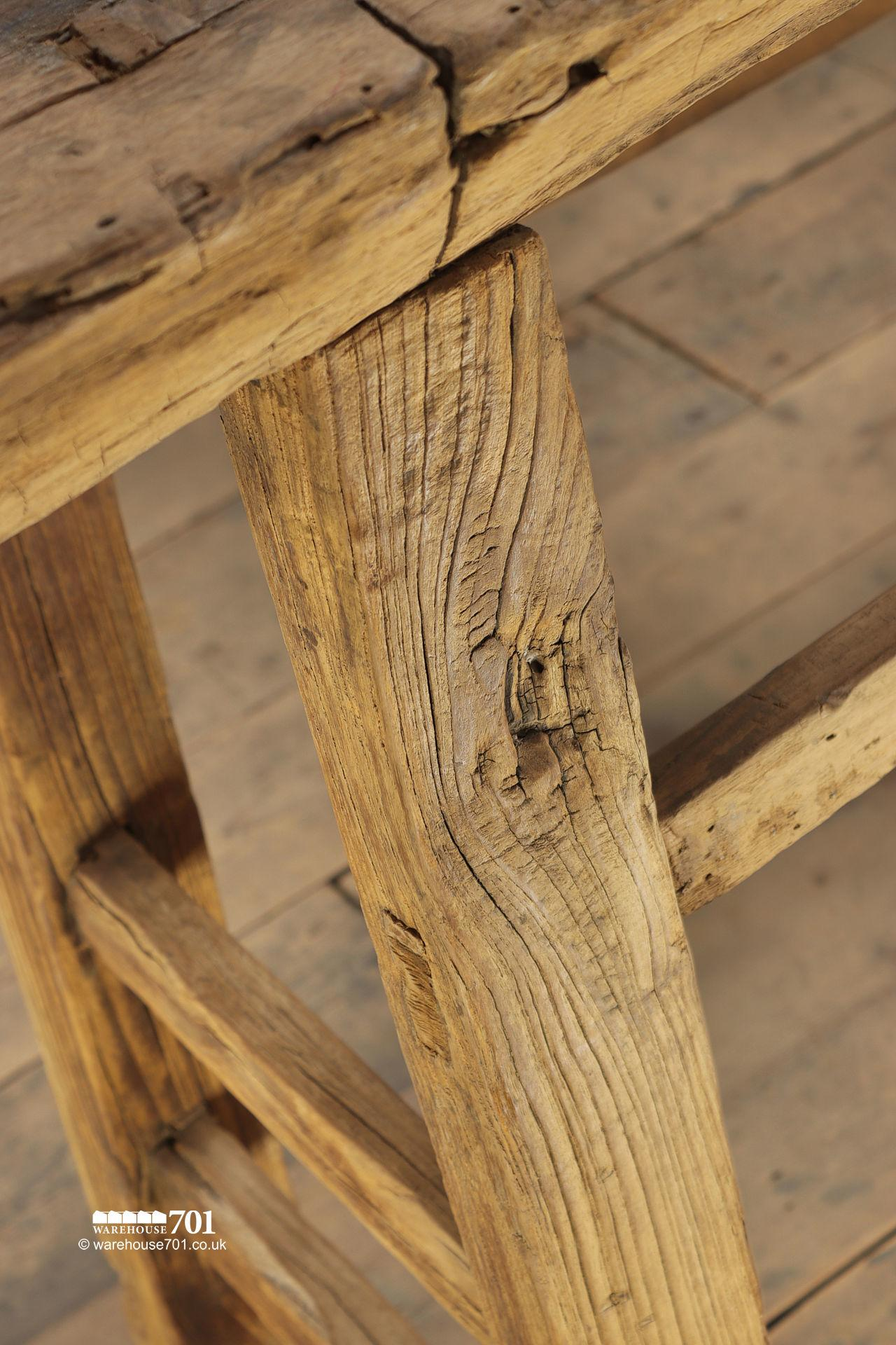Stunning Reclaimed Elm Light Wood Console Table #6