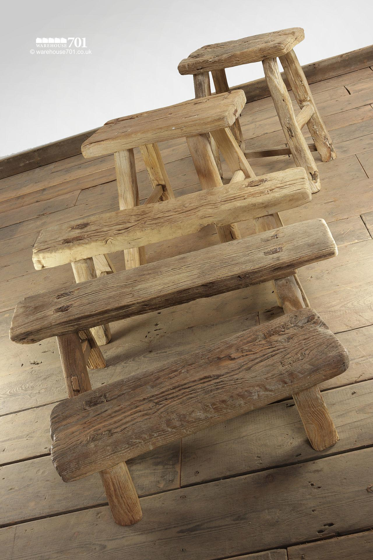 Assorted Reclaimed Elm Large Four Legged Stools #5