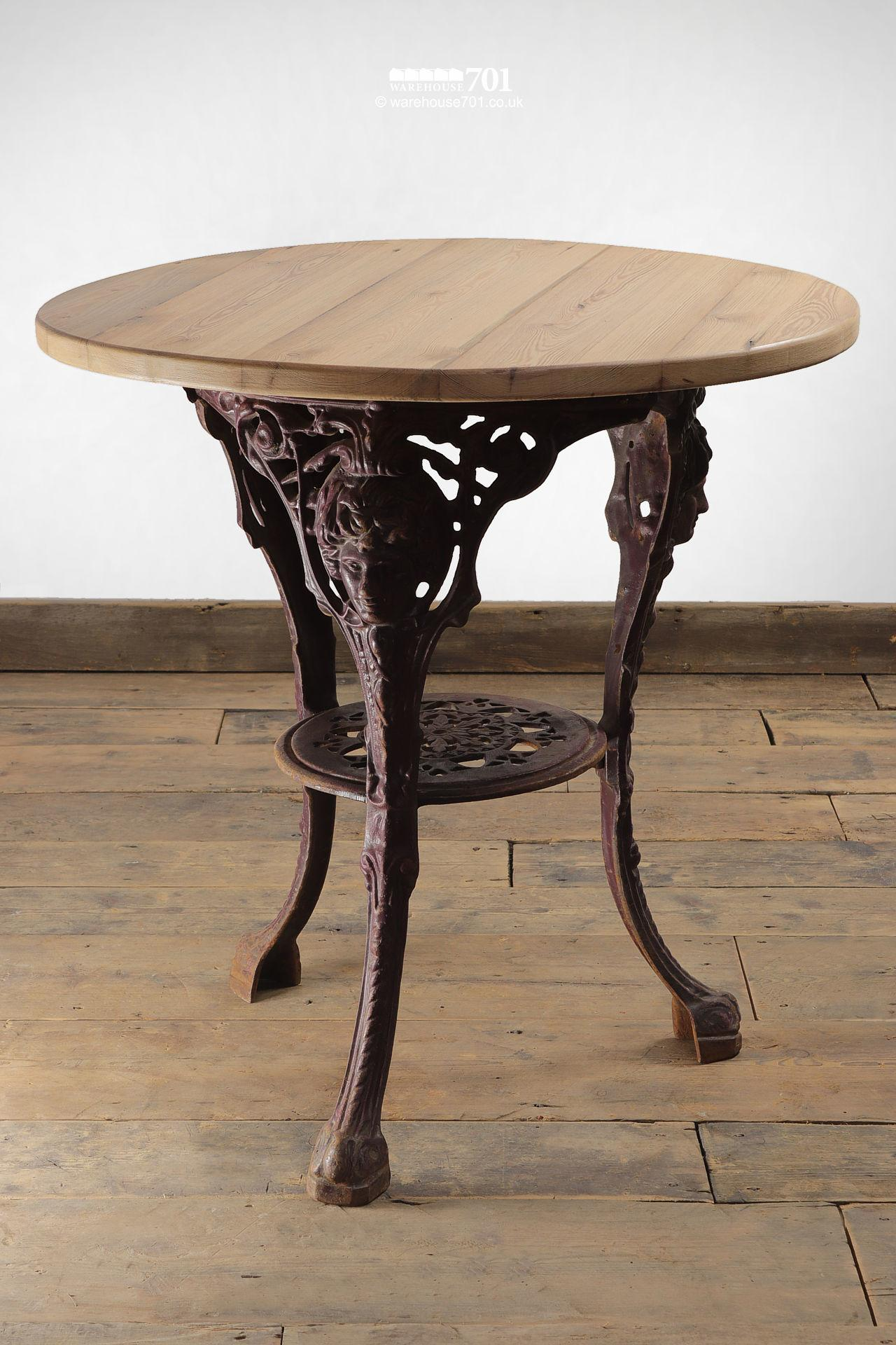 Ornate Cast Iron and Reclaimed Wood Cafe Tables #5