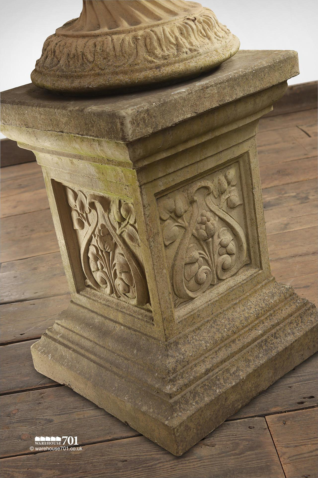 Pair of composite Floral Stone Urns on Plinths #4