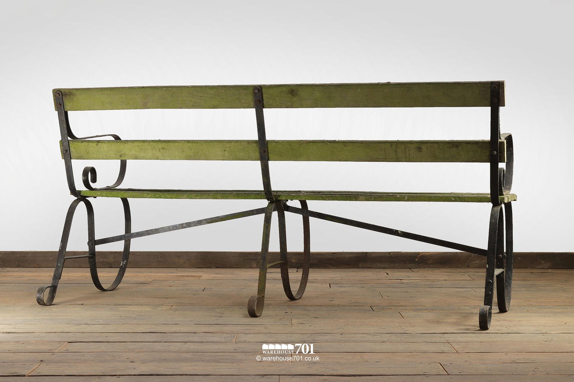 Lovely Old Long Wrought Iron Park or Garden Bench #5