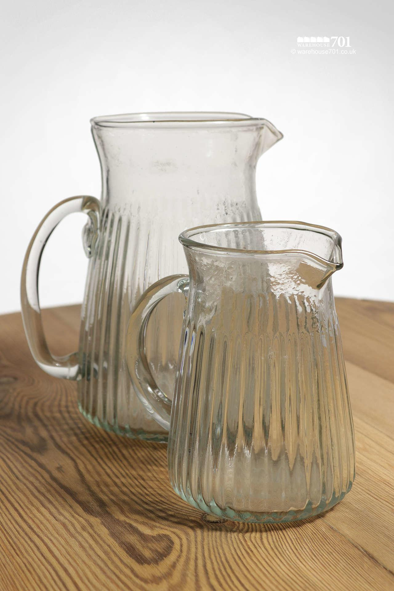 Attractive Hammered Glass Pattern Gadrooned Milk or Water Jugs #2