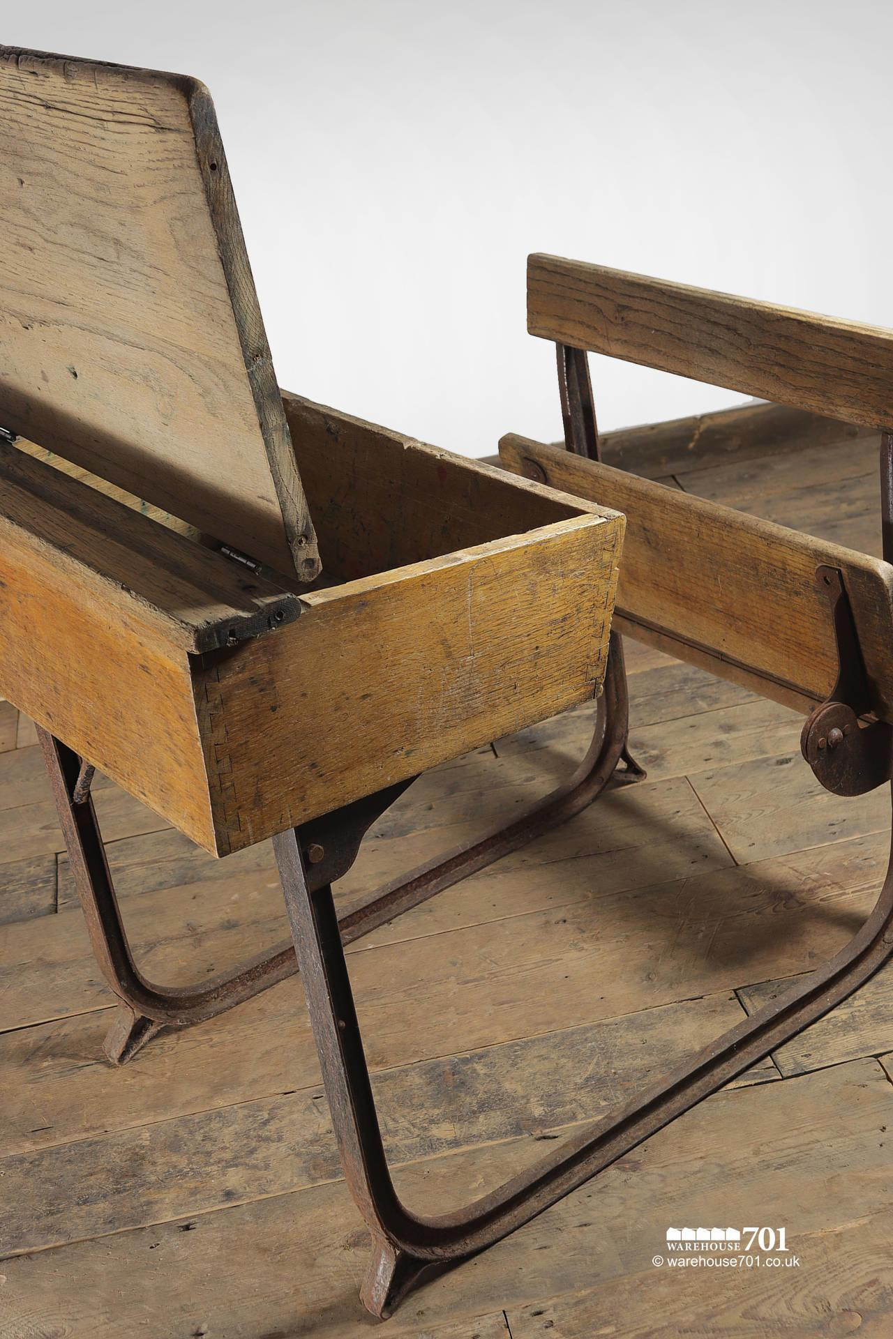Reclaimed Wooden Childs School Desk and Seat #2