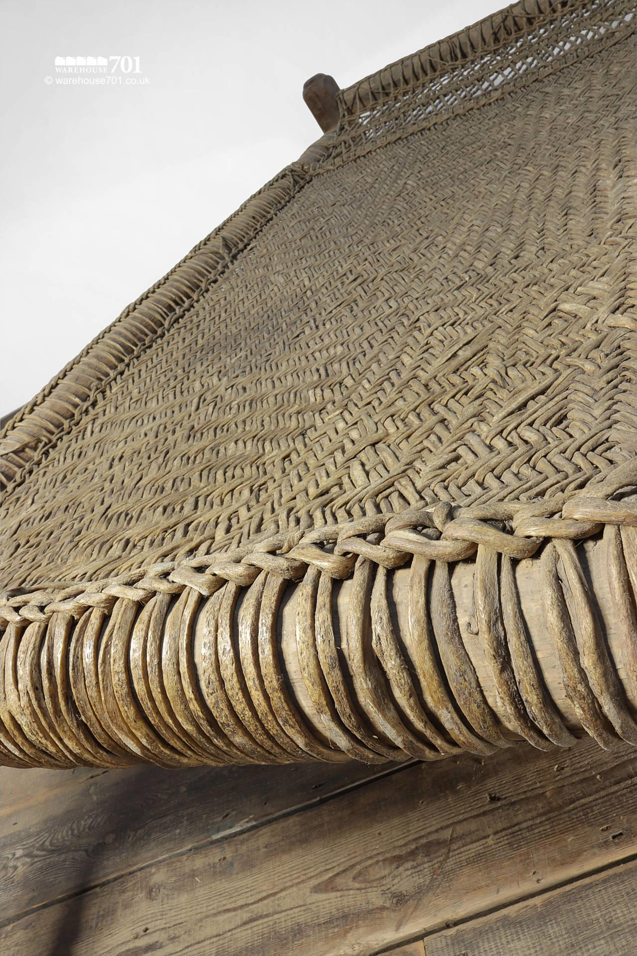 Decorative Wood and Woven Rattan Bed #8