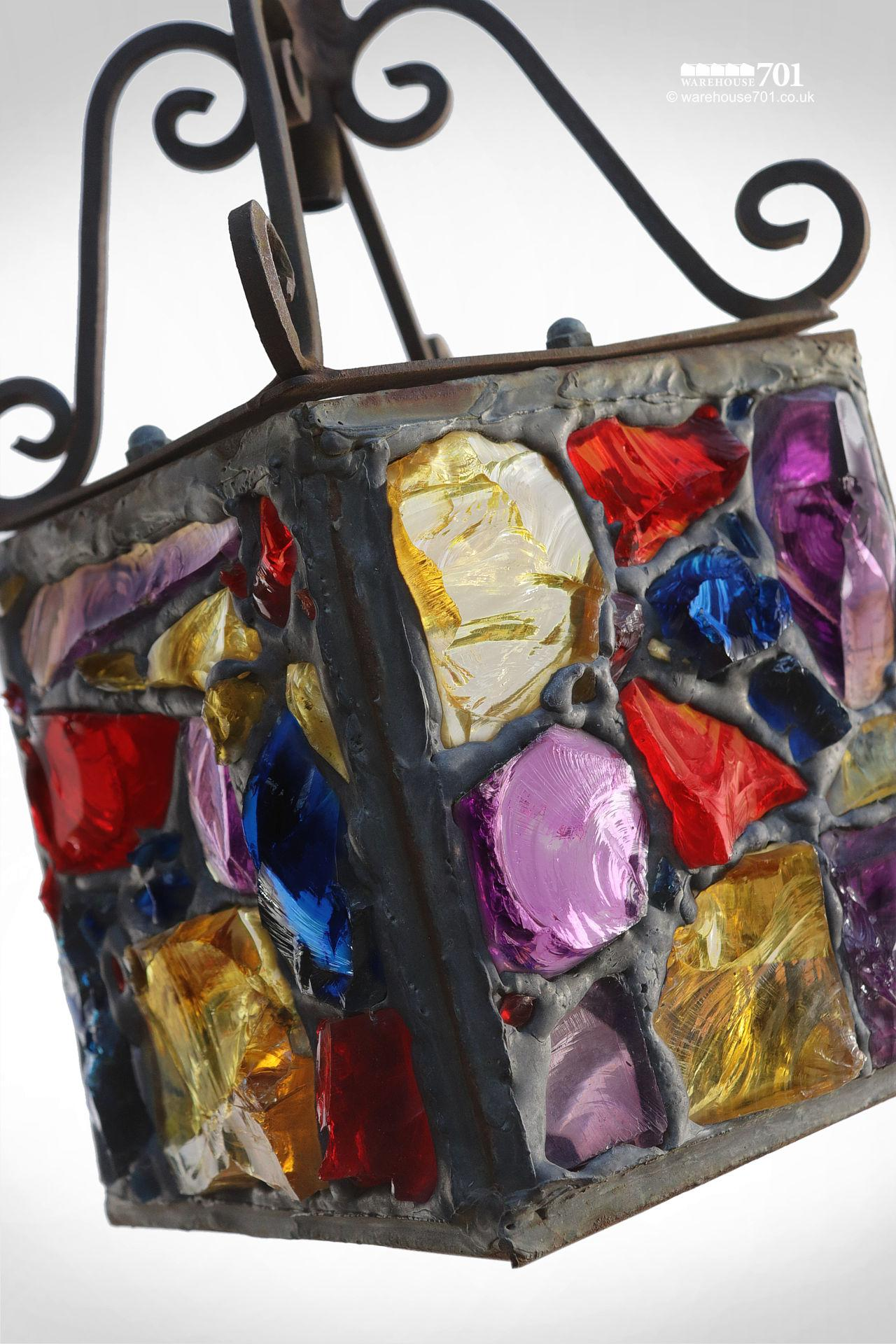 1950s Coloured Slab Glass Porch Lantern (Peter Marsh?) #4