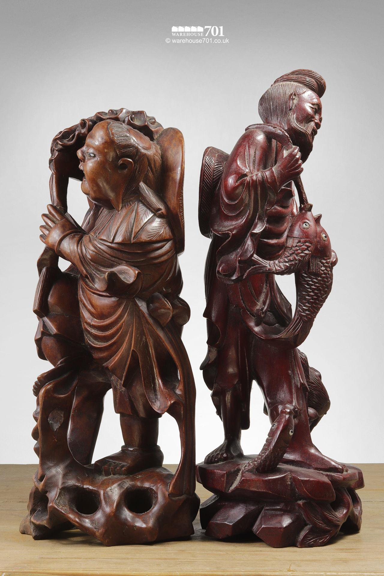 Hand Carved Chinese Sage, Deities or Immortal Figures