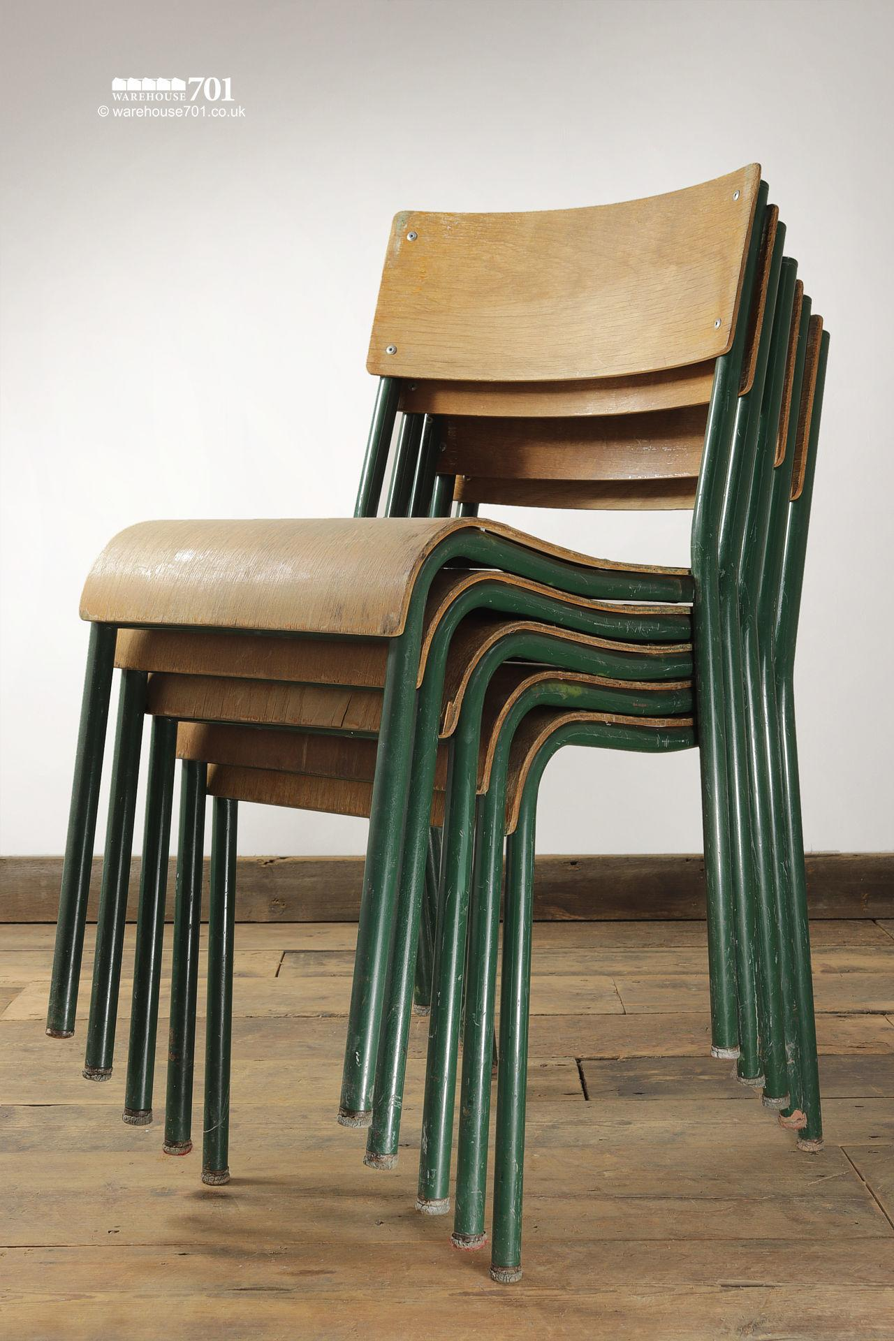 Old Green Tubular Steel and Ply Stacking Chairs #2