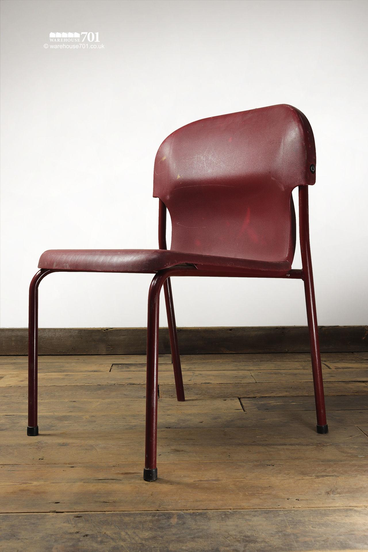 Vintage Burgundy Tubular Steel and Plastic Stacking Chairs #4