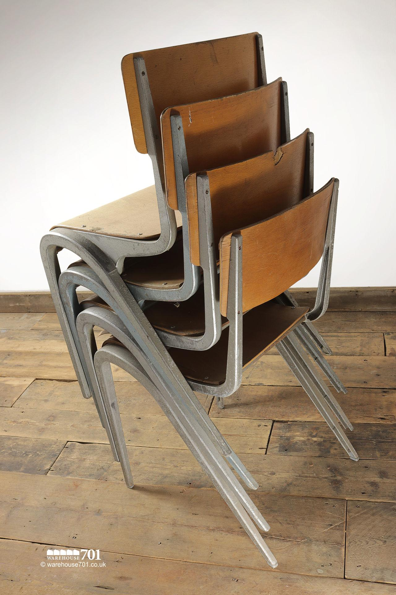 Vintage 1950s Esavian Alloy & Ply Stacking Chairs #6