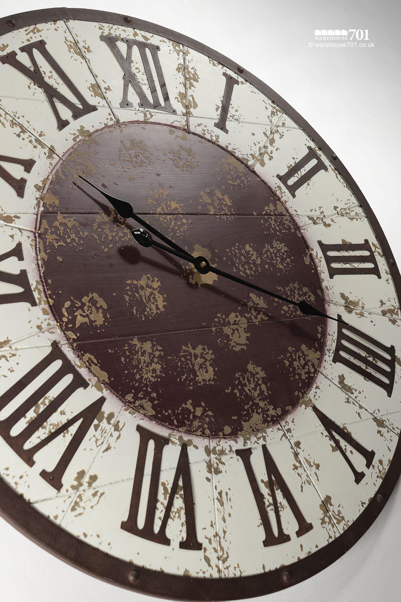 NEW Large White and Brown Vintage Style Wall Clock