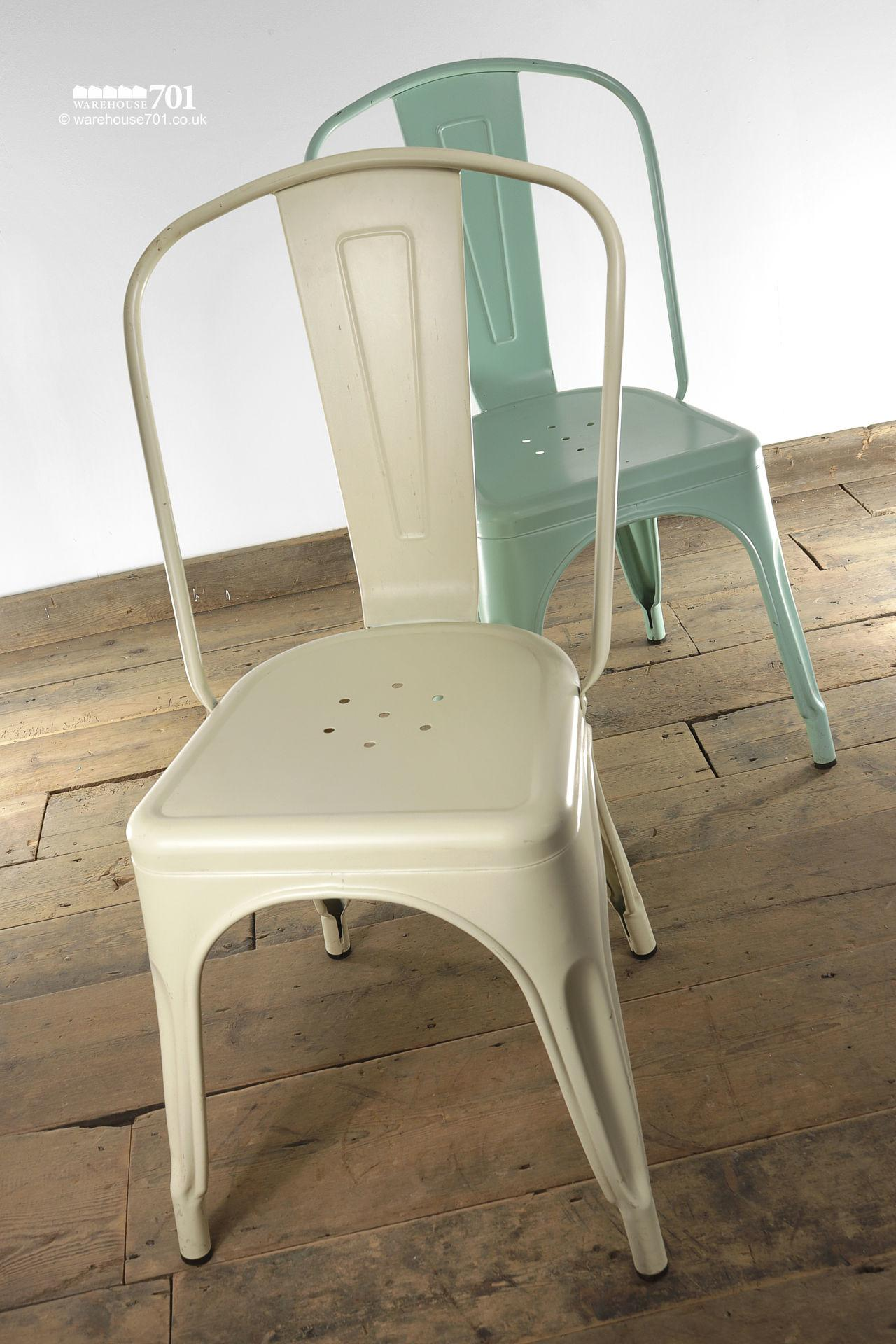 NEW model 'A' Tolix Style Stackable Pressed Metal Coloured Chair
