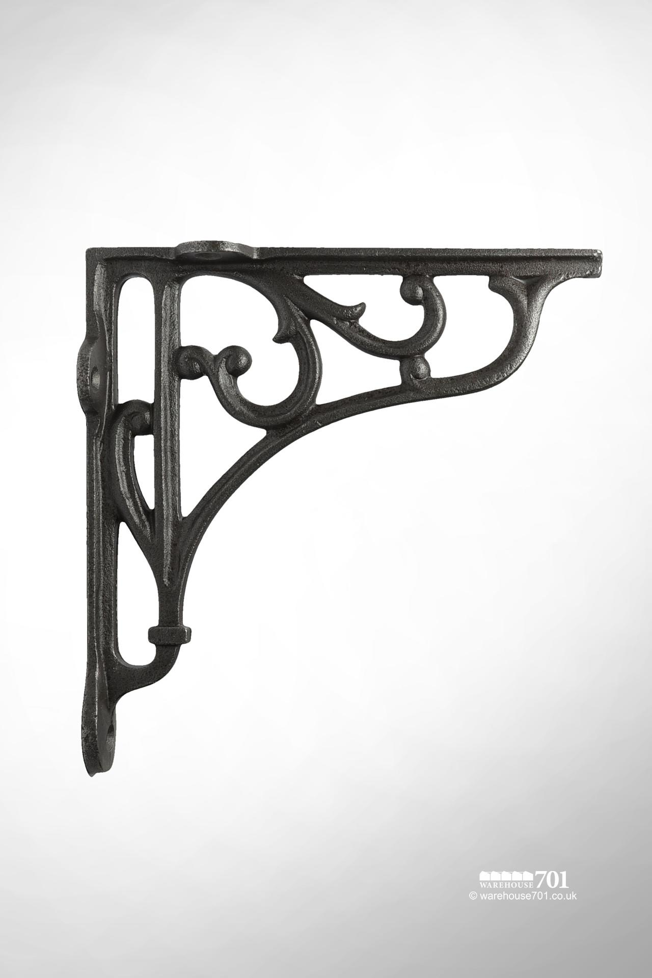 New Satin Black Cast Iron Shelf or Wall Bracket with a Decorative Scroll Design #4