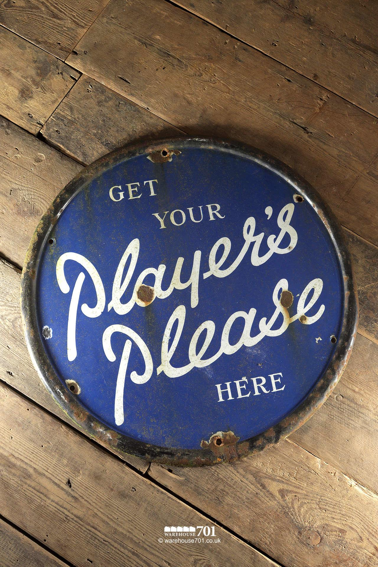 Reclaimed Round Metal Players Please Sign