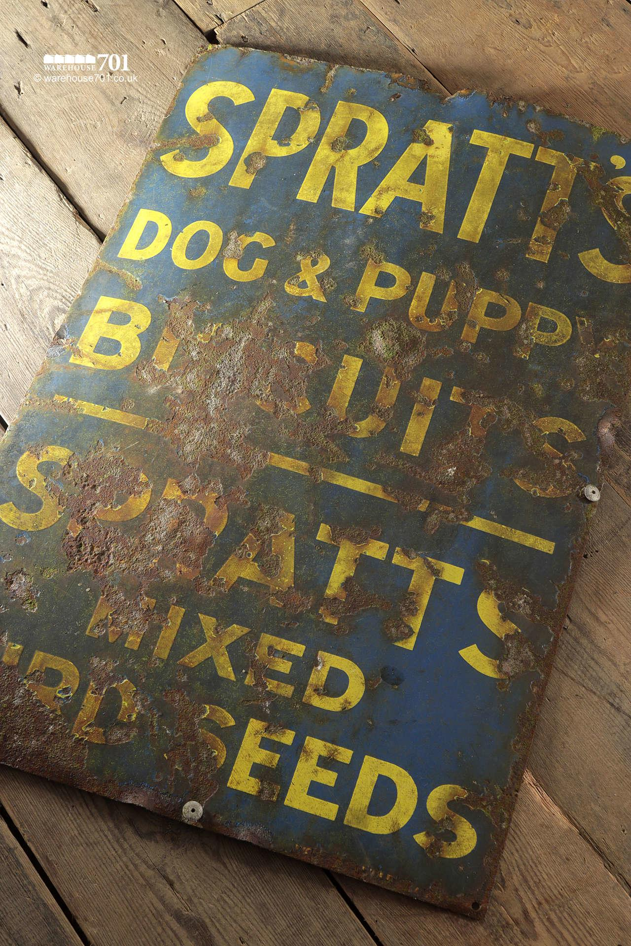Salvaged Metal Spratts Dog and Puppy Enamel Sign