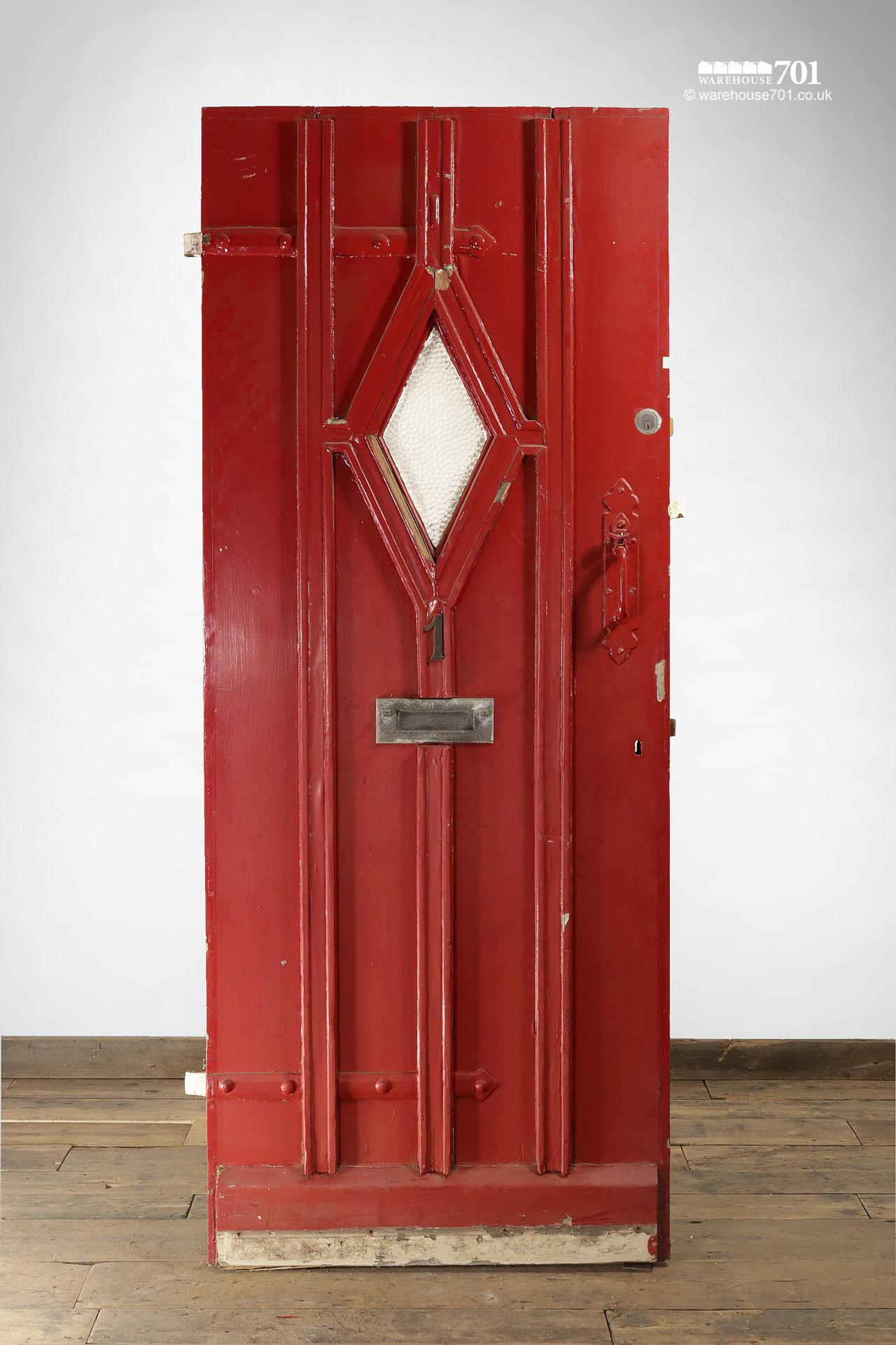 Old Red External Diamond Glazed Plank and Ledge Heavy Pine Door