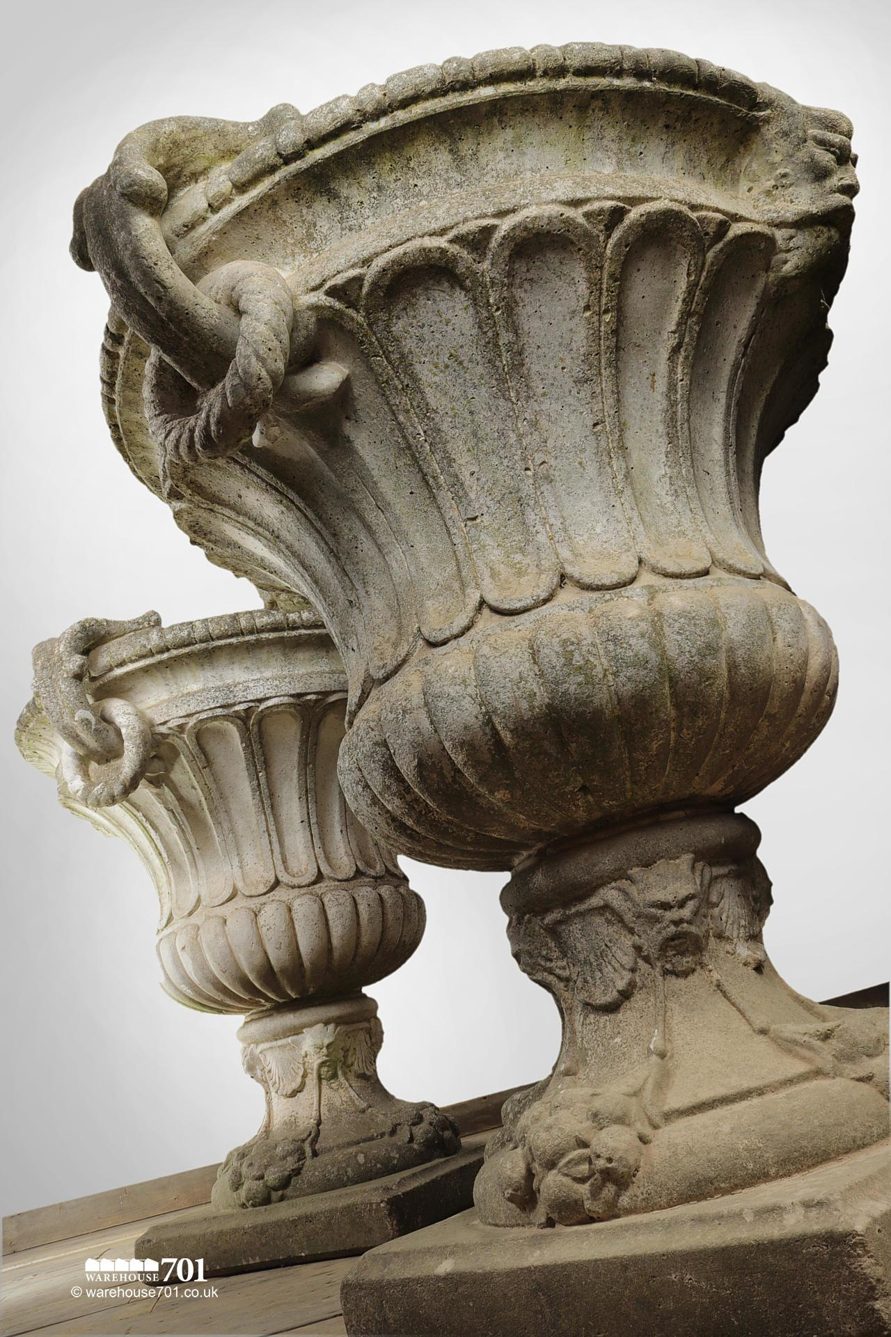 Magnificent Pair of Large Classic Decorative Garden Urns #7