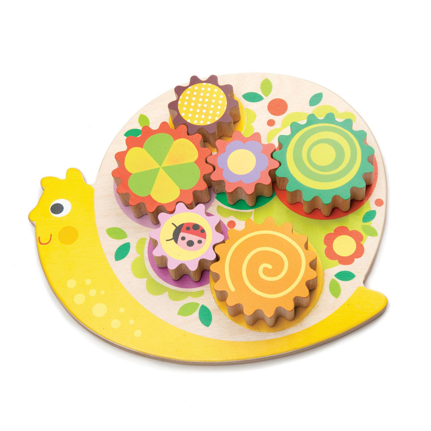 New Wooden Snail with 6 Placeable Colourful Cogs that Turn #3
