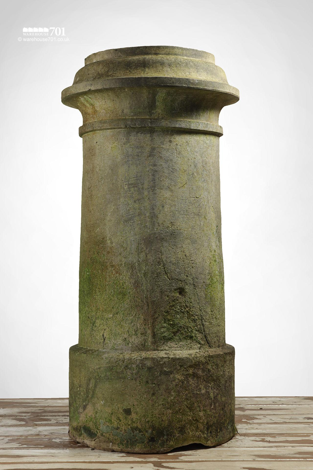 Pair of Reclaimed Tall Cream or Buff Ribbed Cannon Chimney Pots #4