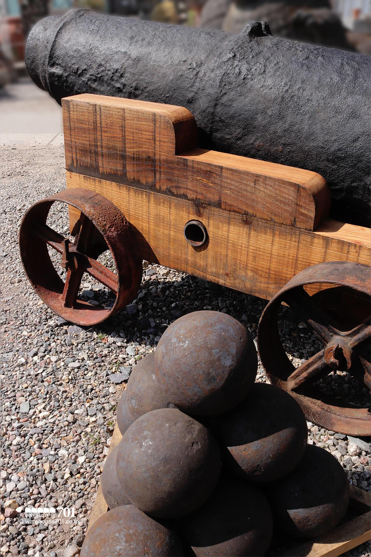 Fabulous Large Ocean-Salvaged Maritime 69lb Carronade Cannon on Carriage