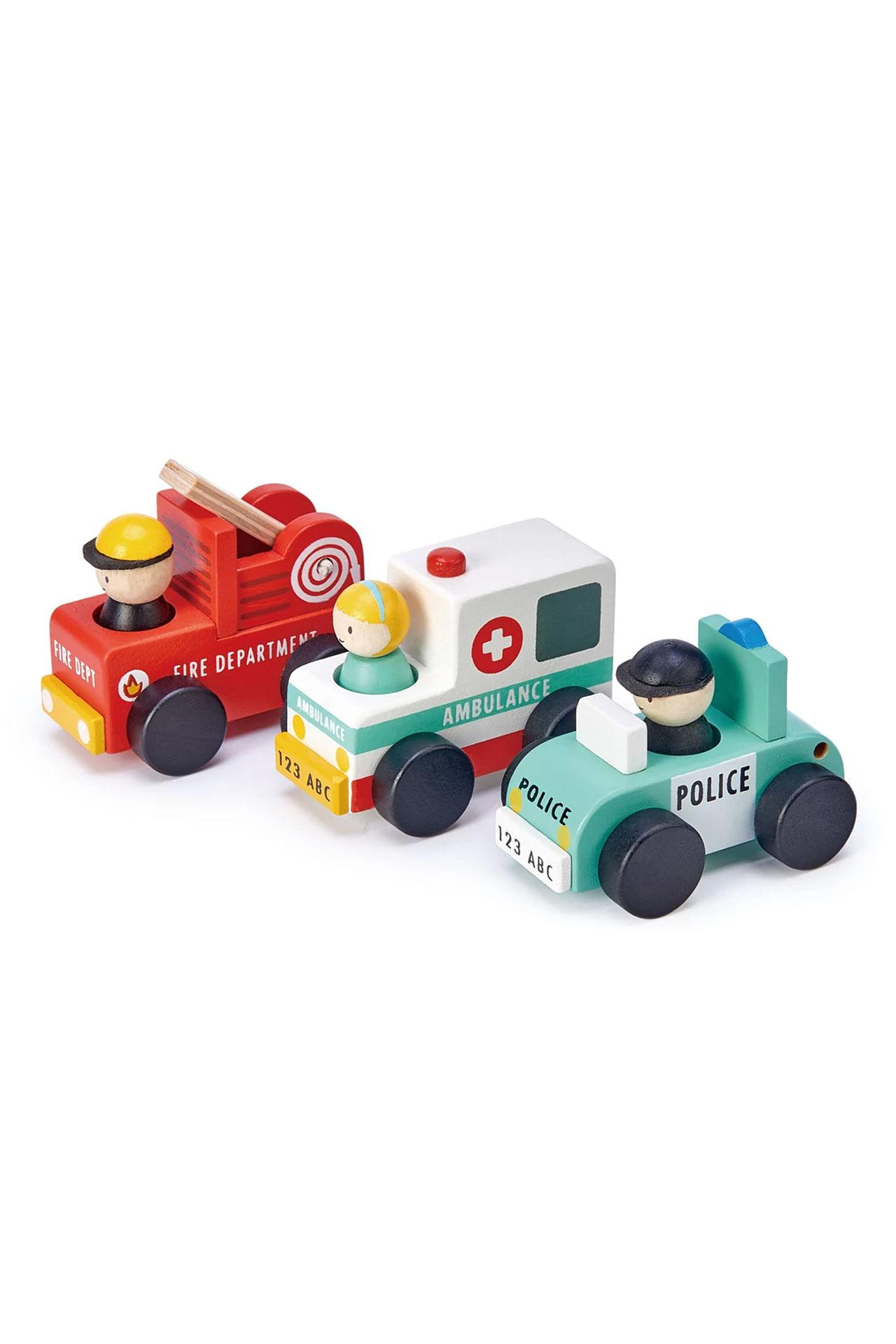 New Wooden Emergency Vehicles- Set of Three #2