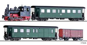 Tillig 1172 Set of the DR with steam locomotive class 99.57 with coach, baggage car and box car