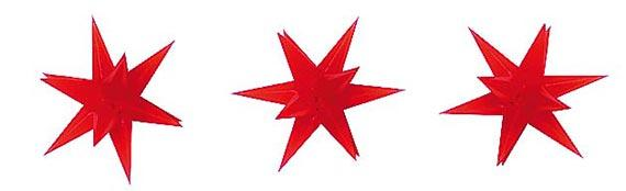 Busch 5416 3 Red illuminated Christmas Star Decorations