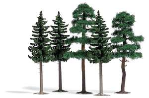 Busch 6149 3 spruce and 2 pine trees