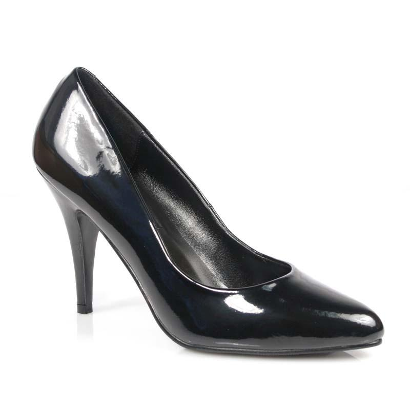 Large fitting Black Patent Court Shoe