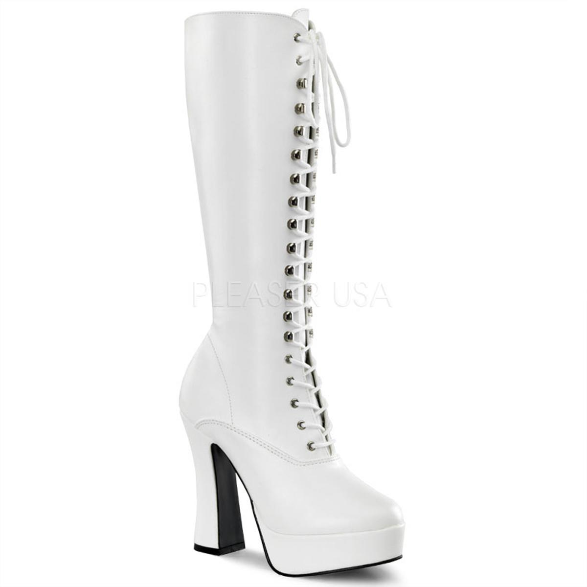 White Faux Leather Chunky Knee Boot