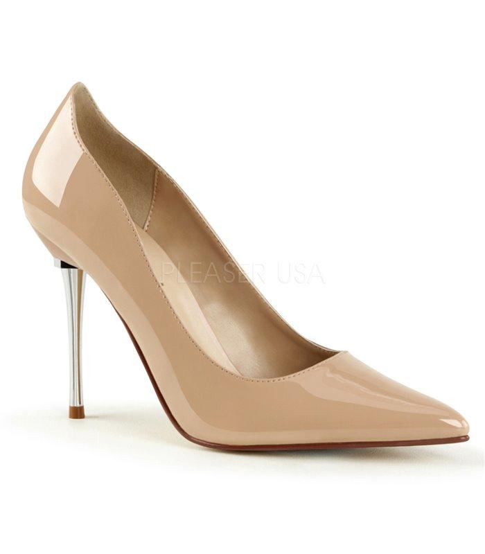 Cream Court Shoe with metal spike heels