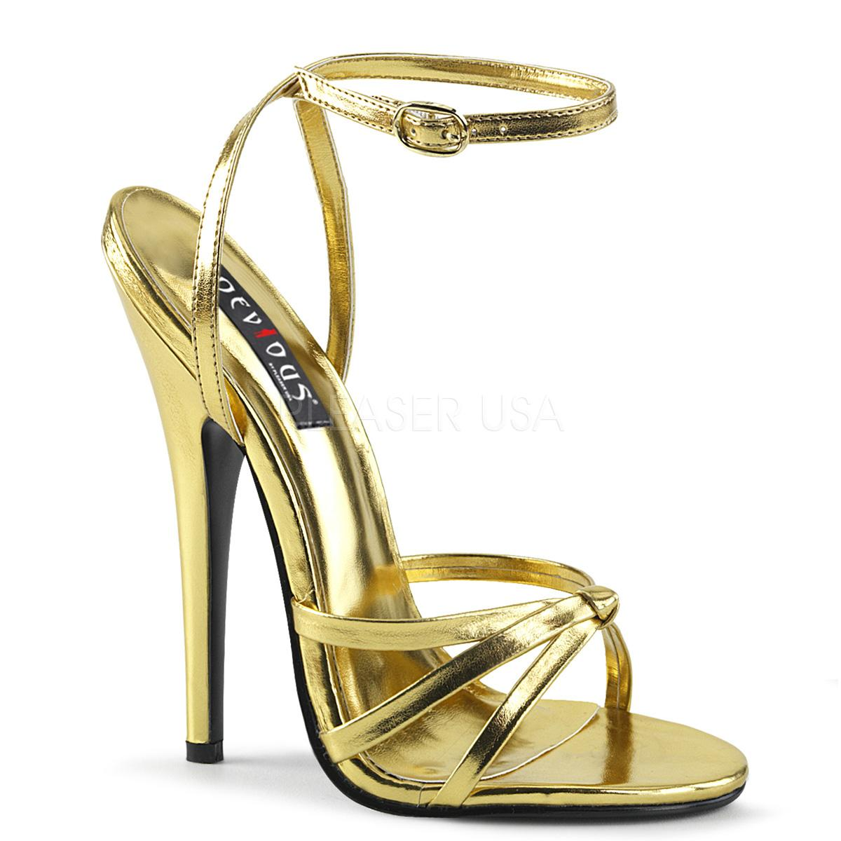 Gold PU Ankle Strap Sandals