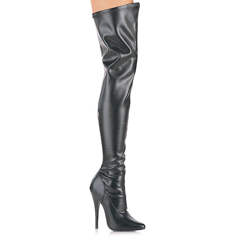 Black Faux Leather Thigh Boot
