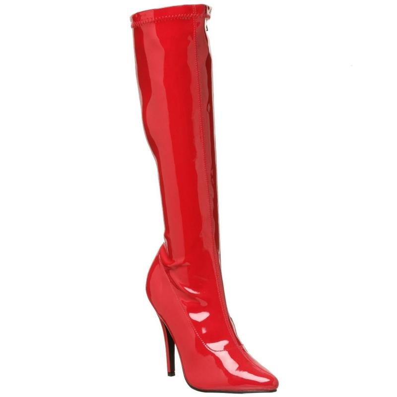 Red Patent Knee Boots
