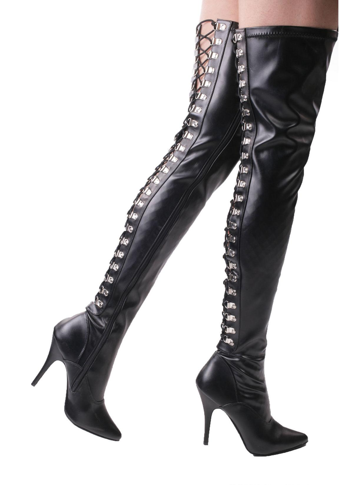 Open Back Faux Leather Thigh Boot